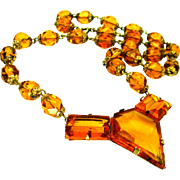 "Vintage, Art Deco, Czech Signed, ""Architectural"" Honey Amber Colored Glass Necklace"