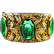"""Vintage, Art Deco, Czech """"Wide"""" Gilded Repoussé, Green Glass, Bangle Bracelet"""