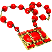 "Vintage, Art Deco, ""Neiger Bros."" Signed Czech, Red Glass & Gilded Necklace"