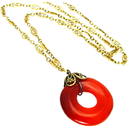 "Vintage, 1920's, Art Deco, Carnelian Agate ""Life Saver"" & 12K G/F Pendant Necklace"