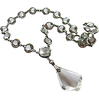 "Vintage, Art Deco, Bezel Set, Crystal Glass & Sterling ""Wedding"" Necklace"