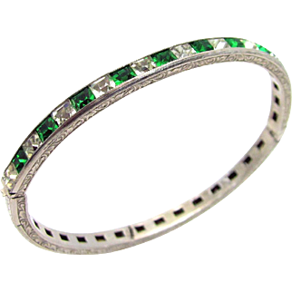 "Vintage, Art Deco, Signed ""Payco"" Clear & Emerald Colored Rhinestone, Sterling, Bracelet"