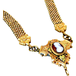 Antique, 1880's, Victorian, 9K Fine Rose Gold Filled Mesh Chain & Sardonyx Cameo Necklace