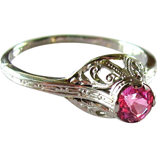 Vintage, 1920's, Art Deco, 18K White Gold, Pink Sapphire Filigree Ring