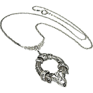 Antique, Belle Époque, German Signed, Sterling Silver & Marcasite Lavaliere Necklace