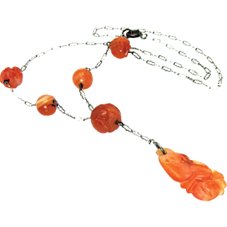 Vintage, Art Deco, Chinese Carved Carnelian & Sterling Silver Lavaliere Necklace