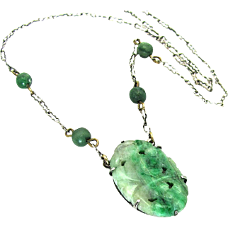 Vintage, 1920's, Art Deco, Chinese Carved Jade & Sterling Silver Necklace