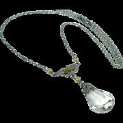 Vintage, Art Deco, 10k White Gold, Crystal Glass, Filigree Necklace