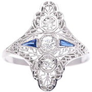 Fantastic Filigree Art Deco Diamond and Sapphire Cocktail Ring