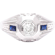 Art Deco Mens Diamond and Sapphire Ring in 18 Karat White Gold