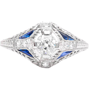 Gorgeous Art Deco Diamond and Sapphire Filigree Engagement Ring in Platinum