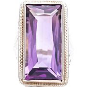 Art Nouveau Amethyst Solitaire Filigree Ring