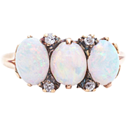 Victorian Opal & Diamond Trilogy Ring in 18k Yellow Gold