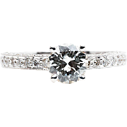 Glistening 1.65ct Pave Set Diamond Engagement Ring in 18k White Gold