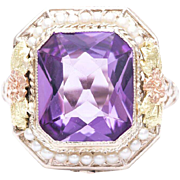 Art Deco Floral Tri Color 14K Gold Amethyst and Pearl Ring