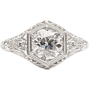 Handmade Art Deco 1.20ct Diamond Floral Filigree Engagement Ring in Platinum