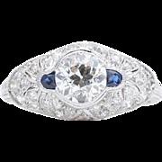 Spectacular Art Deco 1.63ct Diamond & Sapphire Engagement Ring in Platinum