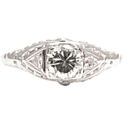 Art Deco 0.60 Carat Diamond 18K White Gold Filigree Engagement Ring