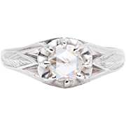 Chinese Art Deco Rose Cut Diamond Engagement Ring in Platinum