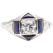 Belais Brothers Art Deco Diamond & Sapphire Engagement Ring