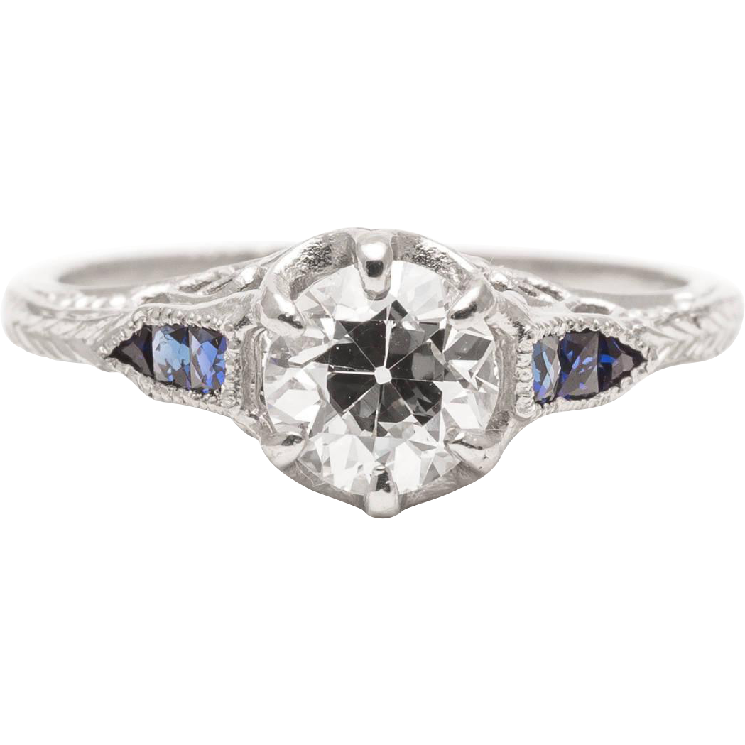 Art Deco Heart Motif 0.95 Carat Diamond and Sapphire Engagement Ring in Platinum