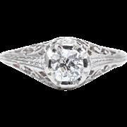 Art Deco 0.60ct Diamond Filigree Solitaire Engagement Ring in Platinum
