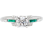 Art Deco 0.82ct Diamond & Emerald Engagement Ring in Platinum