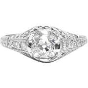 Masterfully Hand Engraved Art Deco 1.18ct Diamond Engagement Ring in Platinum