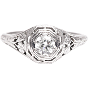 Sale! Hand Engraved Floral Art Deco 0.45ct Diamond Engagement Ring