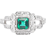 Hand Engraved Art Deco Emerald & Diamond Ring in Luxurious Platinum
