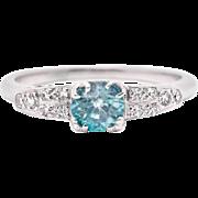 Art Deco Blue Zircon Diamond 18K White Gold Ring