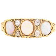 Victorian Opal and Mine Cut Diamond Ring in 18 Karat Yellow Gold
