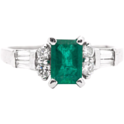 Forest Green 1.38ct Colombian Emerald & Diamond Ring in 14K White Gold