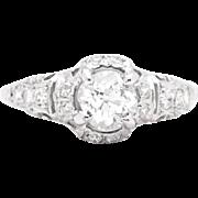 Sumptuous 1.28ct Hand Crafted Art Deco Diamond Engagement Ring in Platinum