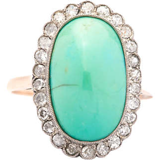 Edwardian Turquoise & Diamond Ring in Platinum and 14K Gold