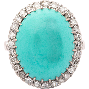Sale! Art Deco Turquoise & Diamond Ring in 18K White Gold