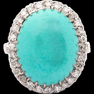 Art Deco Turquoise & Diamond Ring in 18K White Gold