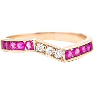 Vintage Retro Ruby & Diamond Wave Band Ring in 14K Yellow Gold
