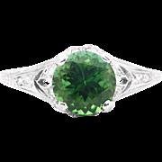 Stunning Art Deco Tourmaline & Diamond Ring in Hand Engraved Platinum