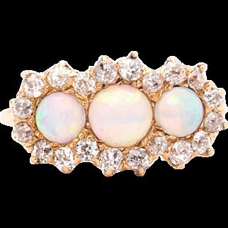 Exceptional Victorian Lightning Ridge Opal & Diamond Ring in 14K Yellow Gold