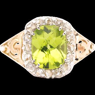 Regal Victorian Peridot & Rose Cut Diamond Ring in 14K Yellow Gold