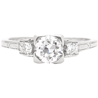 Classic Art Nouveau 0.75ct Diamond Engagement Ring in Luxurious Platinum