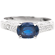 Scintillating Sapphire & Pave Diamond Ring in 14K White Gold