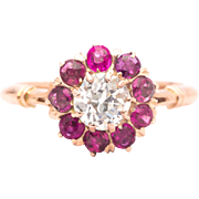 Victorian 1.24ct Diamond & Ruby Engagement Ring in 14K Rose Gold