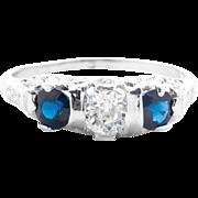 Art Deco Diamond and Sapphire Three-Stone Ring in Platinum