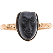 Egyptian Revival Art Nouveau Carved Jet Figural Ring in 14K Yellow Gold