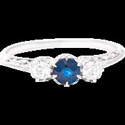Edwardian Sapphire and Diamond Filigree Trilogy Ring in Platinum