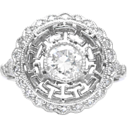 Fantastic Art Deco Filigree 0.70 Carat Diamond Engagement Ring in Platinum
