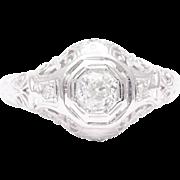 Filigree Art Deco Diamond Engagement Ring in 18 Karat White Gold