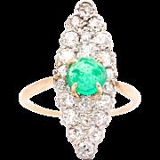Edwardian 3.24ct Emerald & Diamond Lozenge Form Ring in 14K Yellow Gold and Platinum